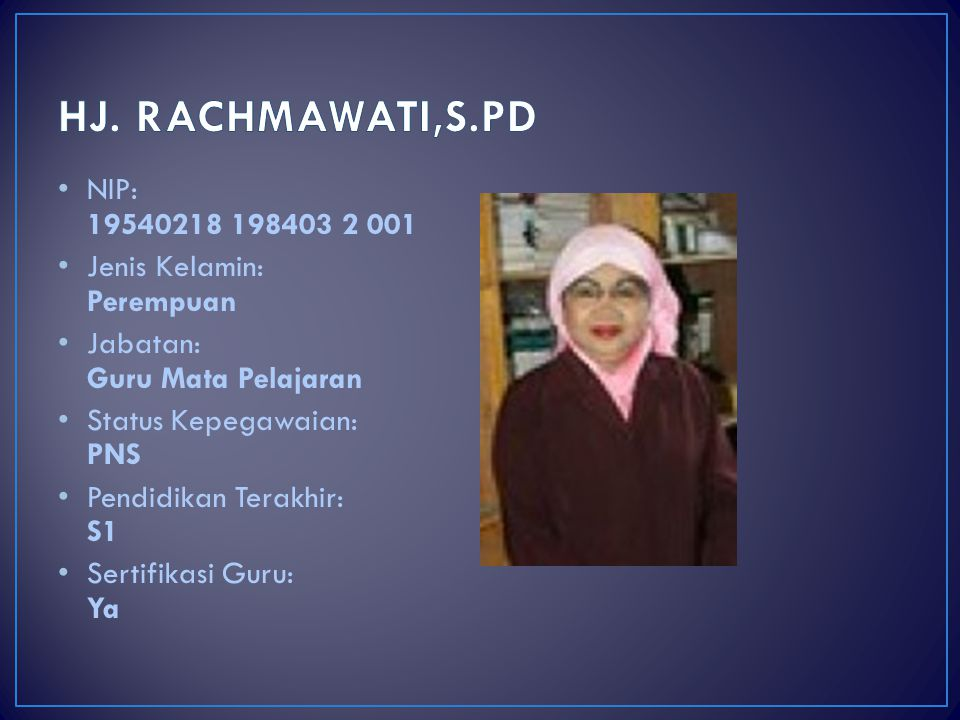 HJ. RACHMAWATI,S.PD NIP: 19540218 198403 2 001. Jenis Kelamin: Perempuan. Jabatan: Guru Mata Pelajaran.