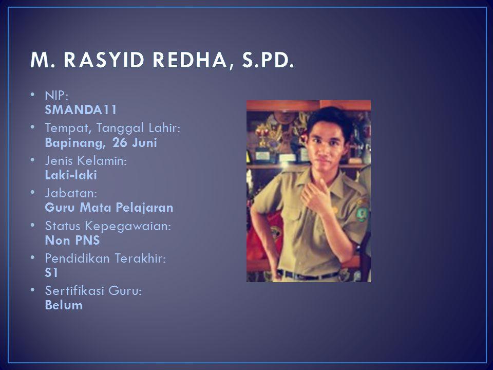 M. RASYID REDHA, S.PD. NIP: SMANDA11