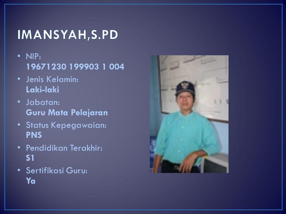 IMANSYAH,S.PD NIP: 19671230 199903 1 004 Jenis Kelamin: Laki-laki