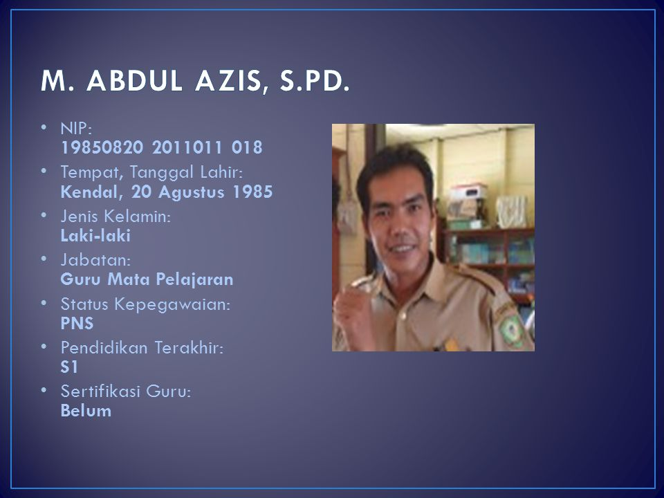 M. ABDUL AZIS, S.PD. NIP: 19850820 2011011 018. Tempat, Tanggal Lahir: Kendal, 20 Agustus 1985. Jenis Kelamin: Laki-laki.