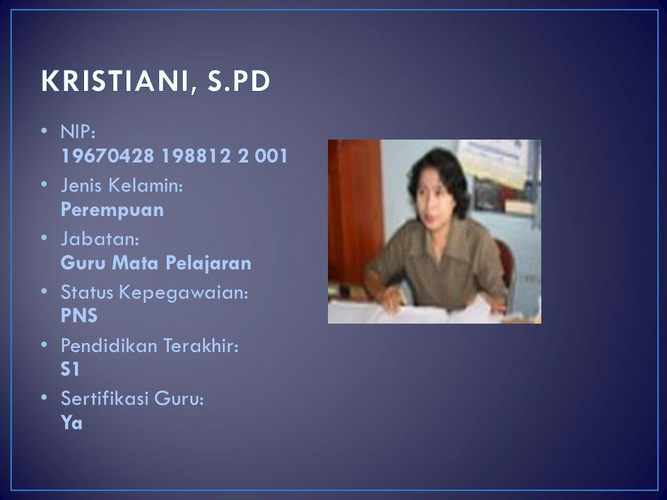 KRISTIANI, S.PD NIP: 19670428 198812 2 001 Jenis Kelamin: Perempuan