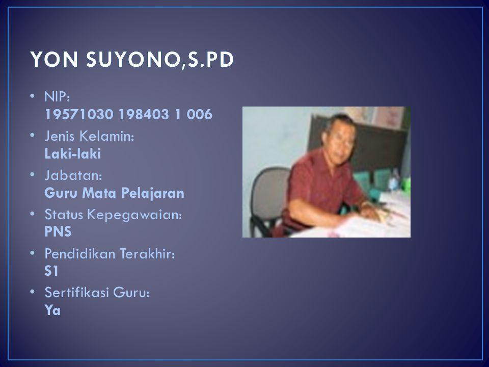 YON SUYONO,S.PD NIP: 19571030 198403 1 006 Jenis Kelamin: Laki-laki