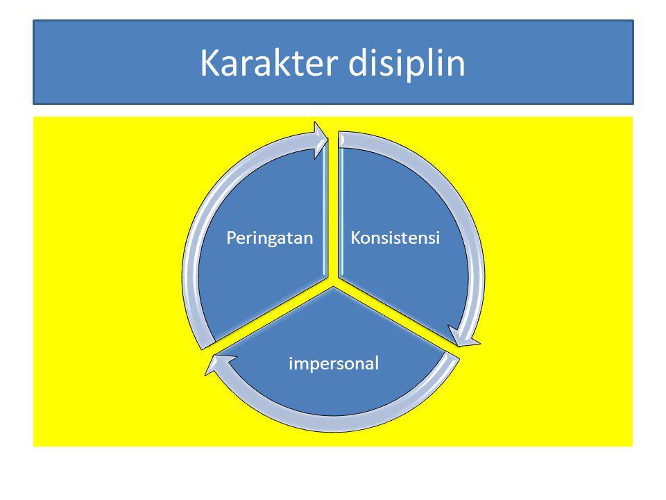 Karakter disiplin Konsistensi impersonal Peringatan