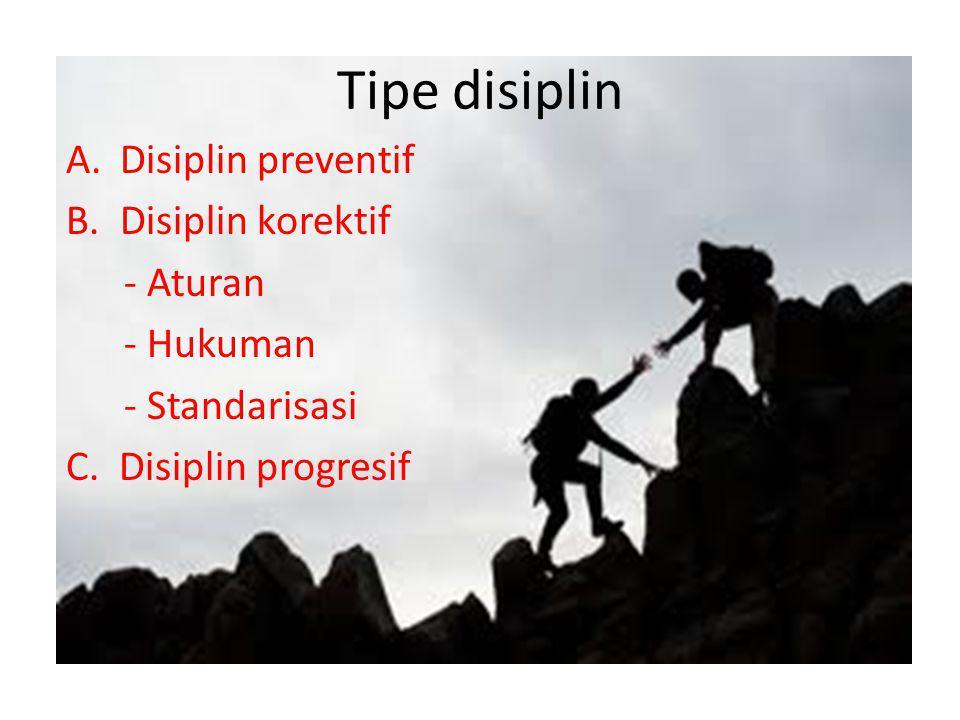 Tipe disiplin Disiplin preventif Disiplin korektif - Aturan - Hukuman
