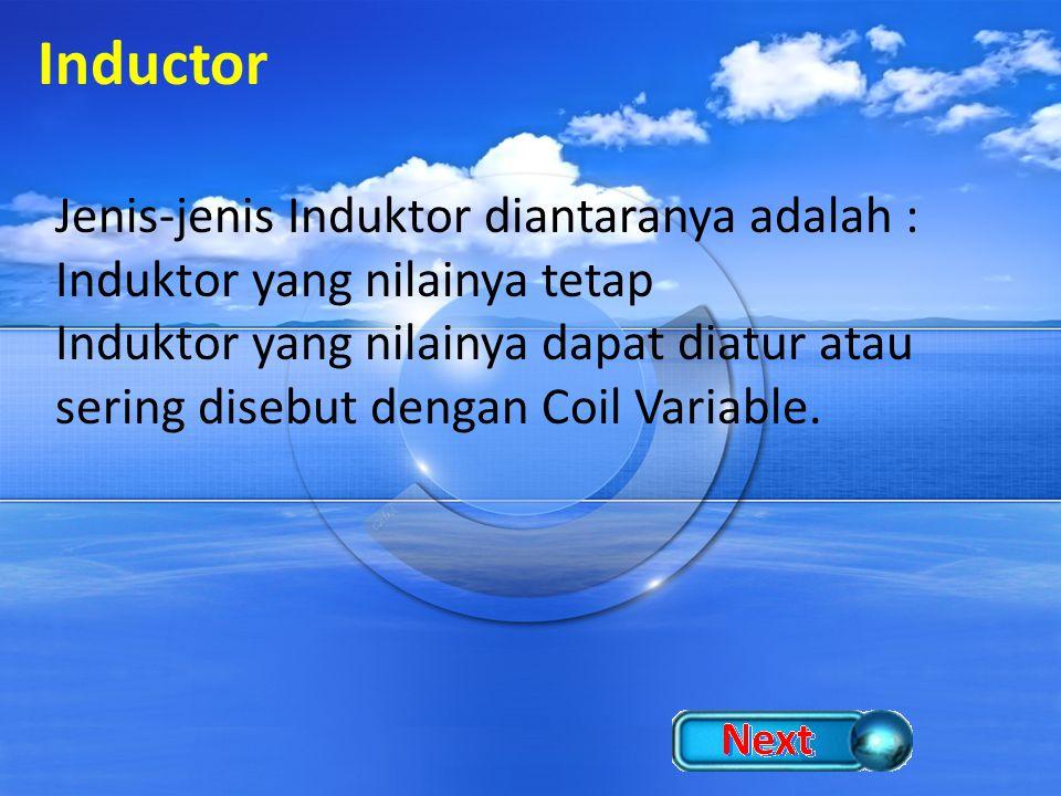 Inductor Jenis-jenis Induktor diantaranya adalah :