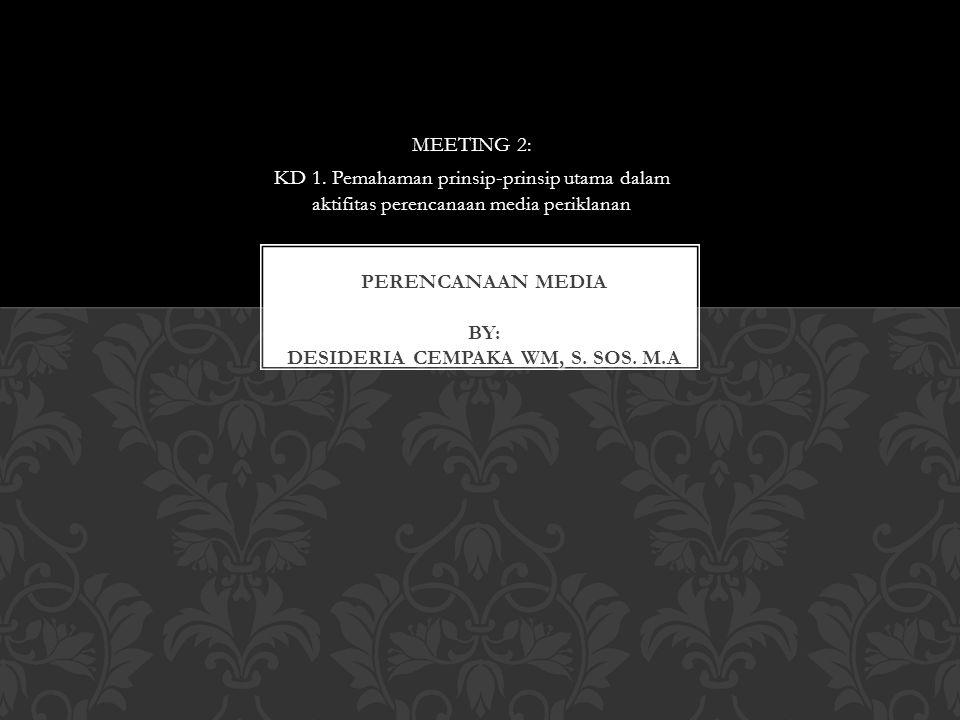 PERENCANAAN MEDIA BY: DESIDERIA CEMPAKA WM, S. SOS. M.A