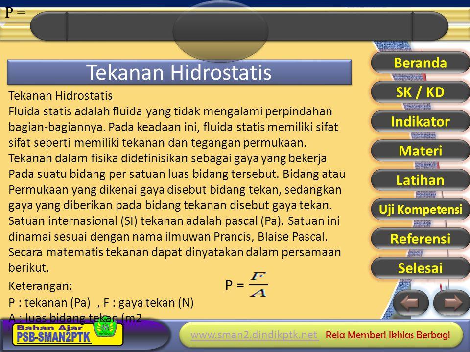 Tekanan Hidrostatis P = Beranda SK / KD Indikator Materi Latihan