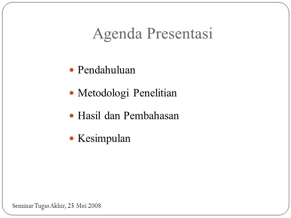 Agenda Presentasi Pendahuluan Metodologi Penelitian