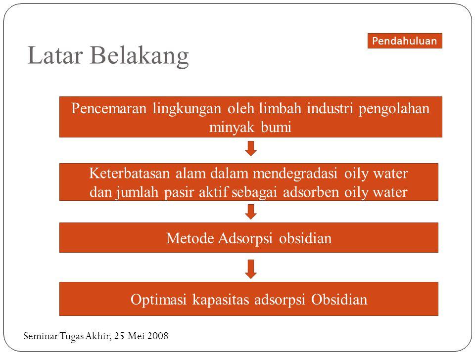 Latar Belakang Pendahuluan. Pencemaran lingkungan oleh limbah industri pengolahan minyak bumi. Keterbatasan alam dalam mendegradasi oily water.
