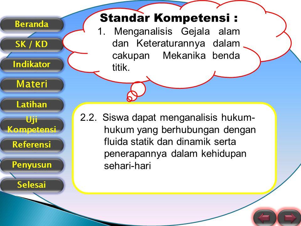 Standar Kompetensi : 1. Menganalisis Gejala alam dan Keteraturannya dalam cakupan Mekanika benda titik.