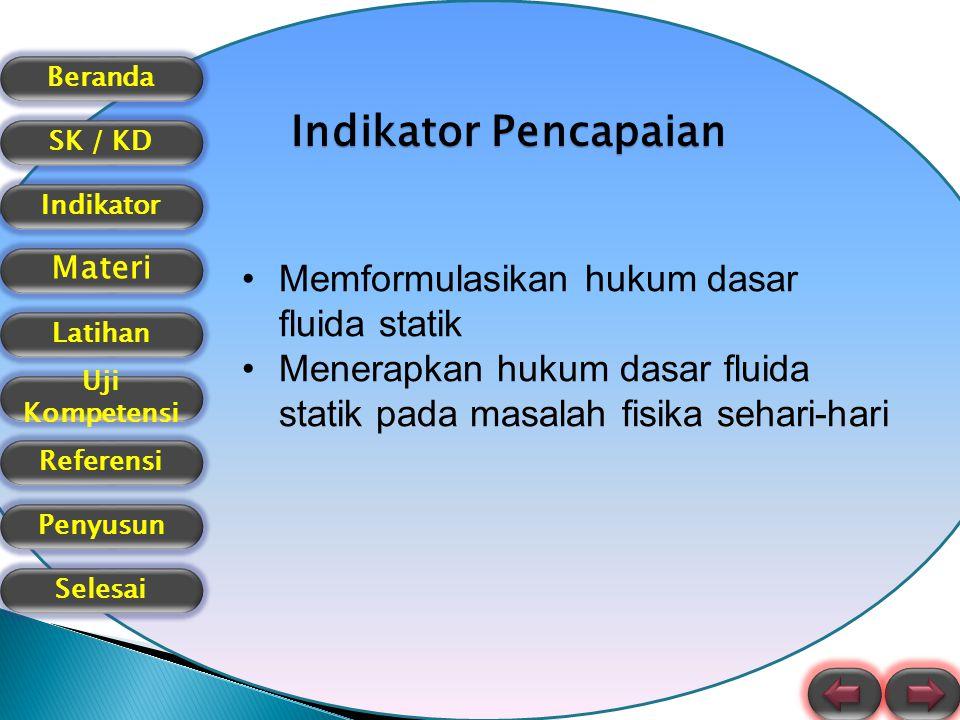 Indikator Pencapaian Memformulasikan hukum dasar fluida statik