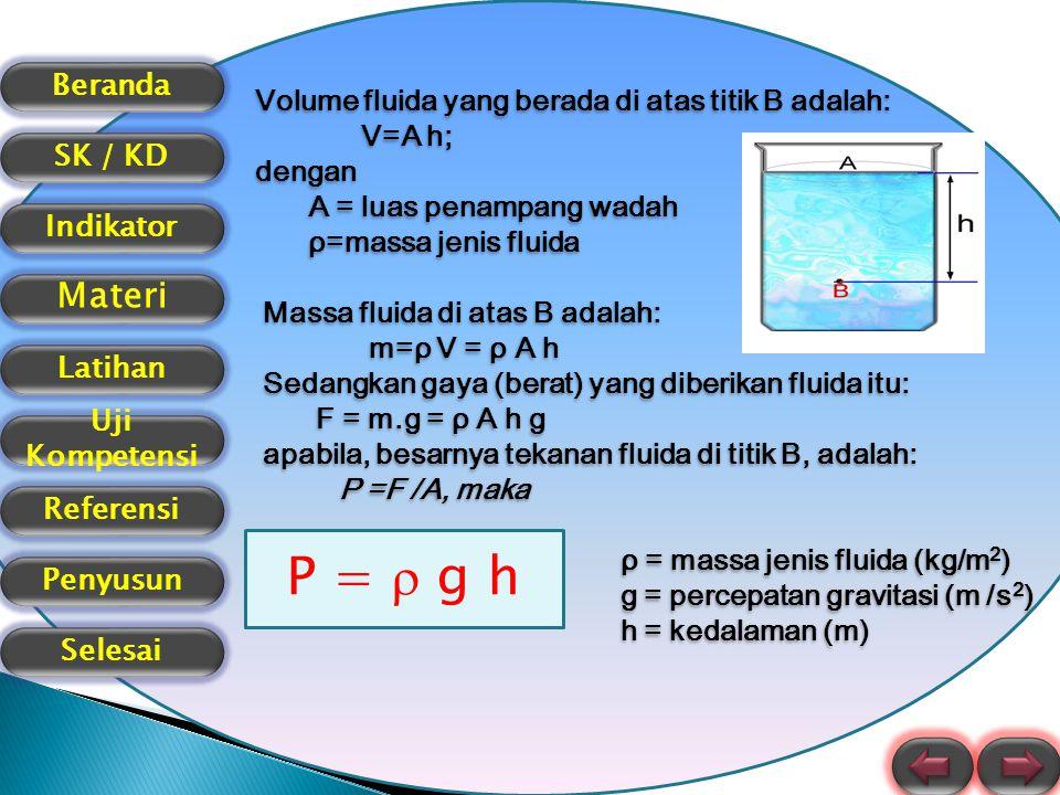 P =  g h Volume fluida yang berada di atas titik B adalah: V=A h;