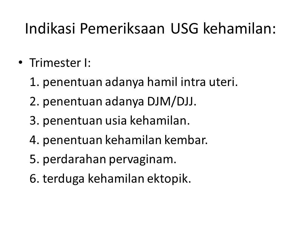 Indikasi Pemeriksaan USG kehamilan: