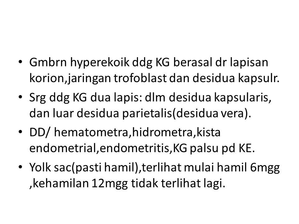 Gmbrn hyperekoik ddg KG berasal dr lapisan korion,jaringan trofoblast dan desidua kapsulr.