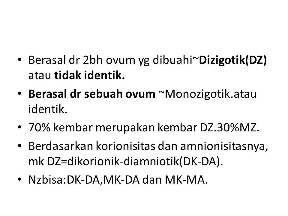 Berasal dr 2bh ovum yg dibuahi~Dizigotik(DZ) atau tidak identik.