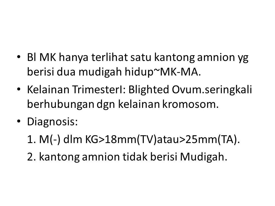 Bl MK hanya terlihat satu kantong amnion yg berisi dua mudigah hidup~MK-MA.