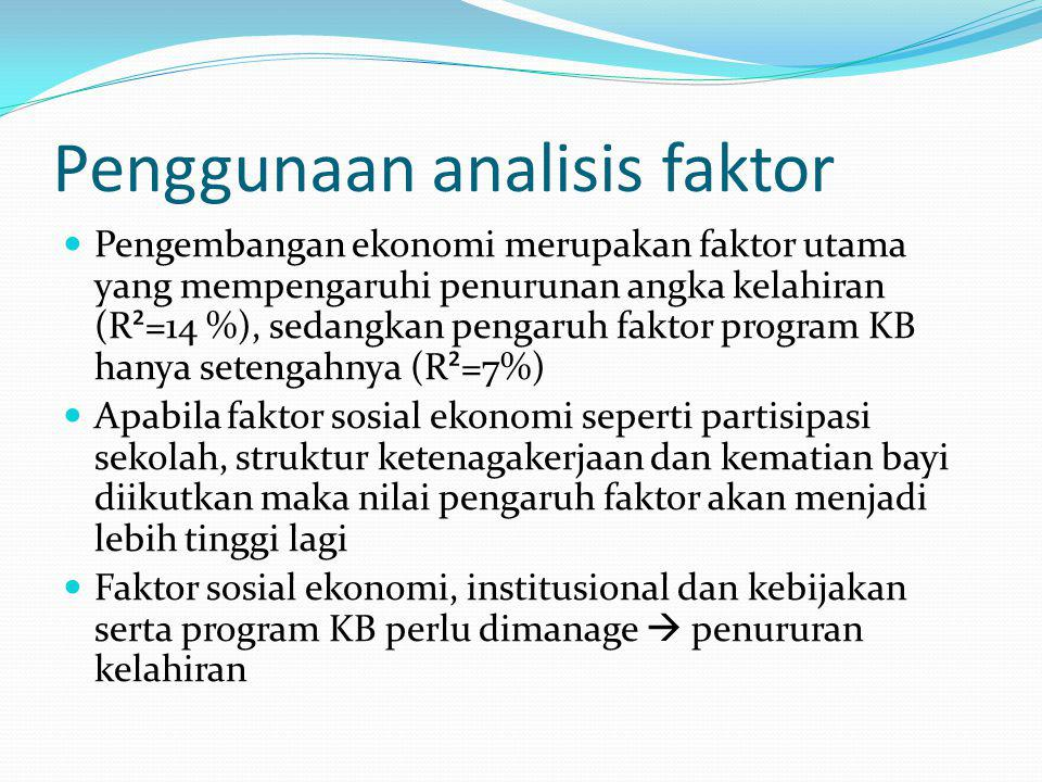 Penggunaan analisis faktor