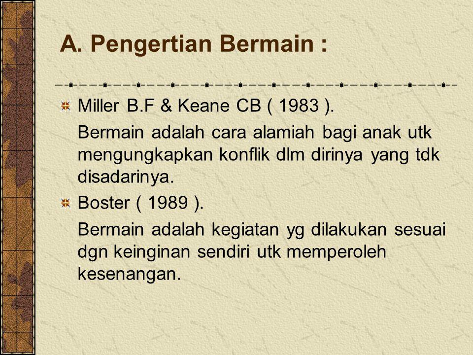 A. Pengertian Bermain : Miller B.F & Keane CB ( 1983 ).