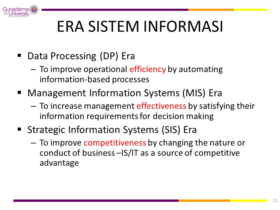 ERA SISTEM INFORMASI Data Processing (DP) Era