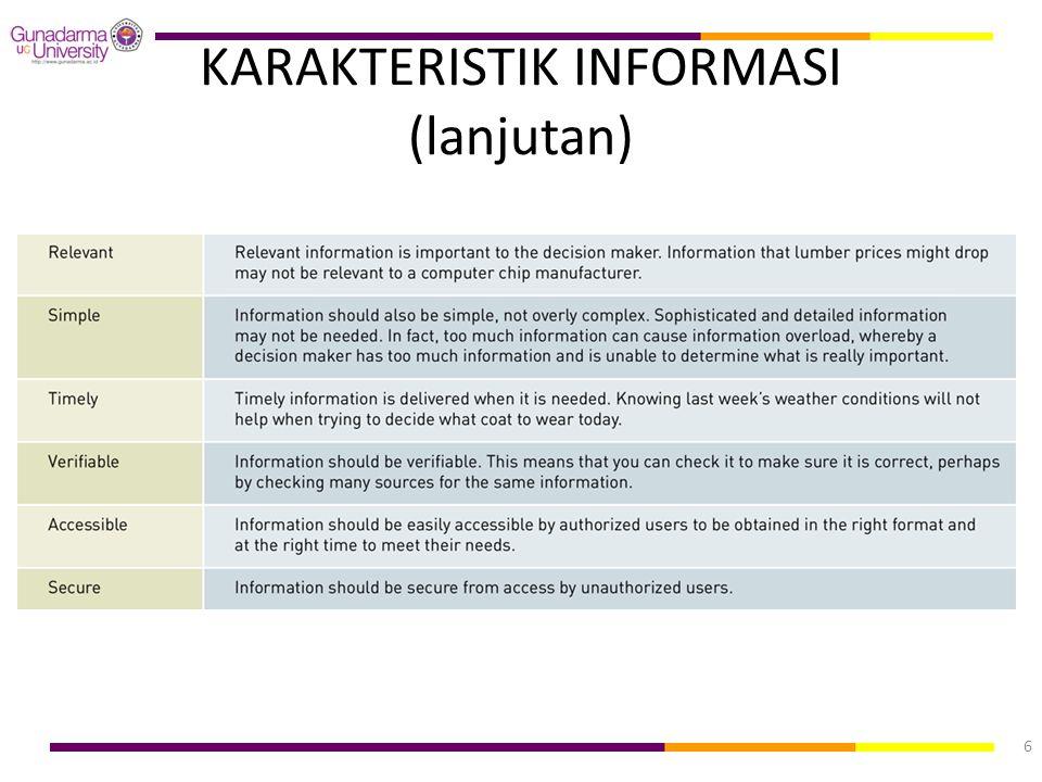 KARAKTERISTIK INFORMASI (lanjutan)