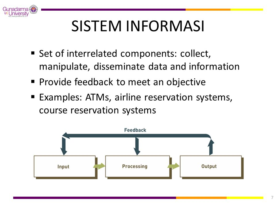 SISTEM INFORMASI Set of interrelated components: collect, manipulate, disseminate data and information.