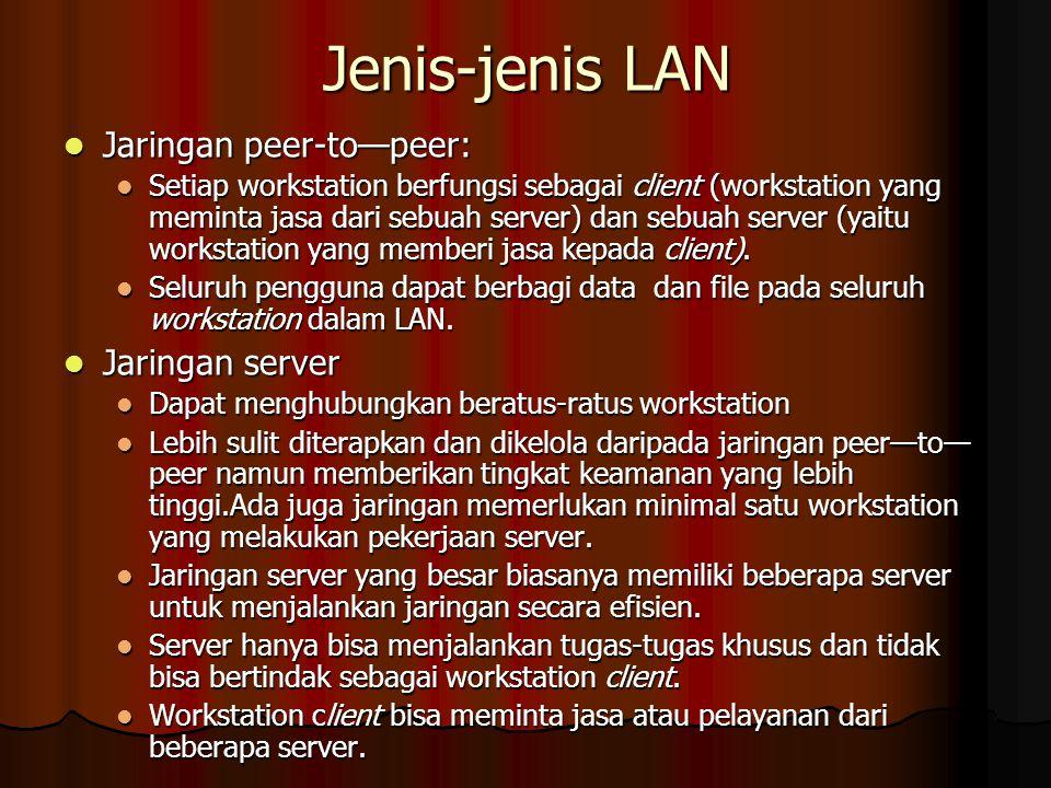 Jenis-jenis LAN Jaringan peer-to—peer: Jaringan server