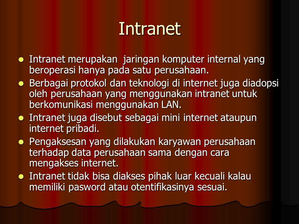 Intranet Intranet merupakan jaringan komputer internal yang beroperasi hanya pada satu perusahaan.