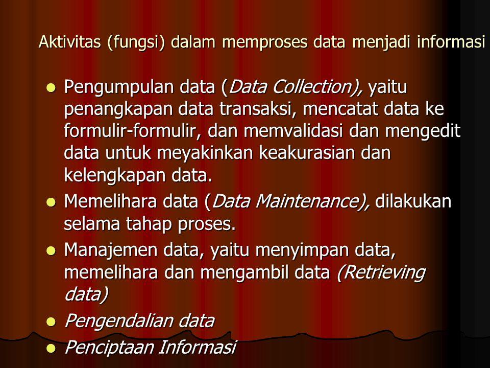 Aktivitas (fungsi) dalam memproses data menjadi informasi
