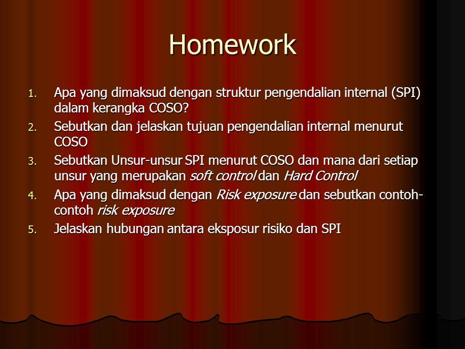 Homework Apa yang dimaksud dengan struktur pengendalian internal (SPI) dalam kerangka COSO