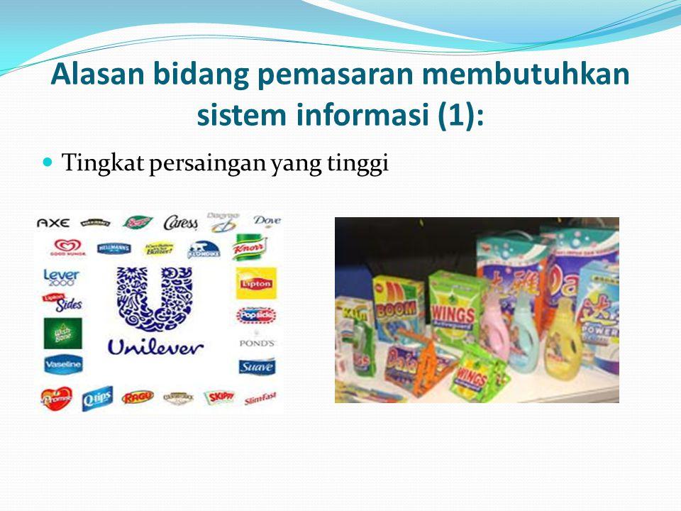 Alasan bidang pemasaran membutuhkan sistem informasi (1):