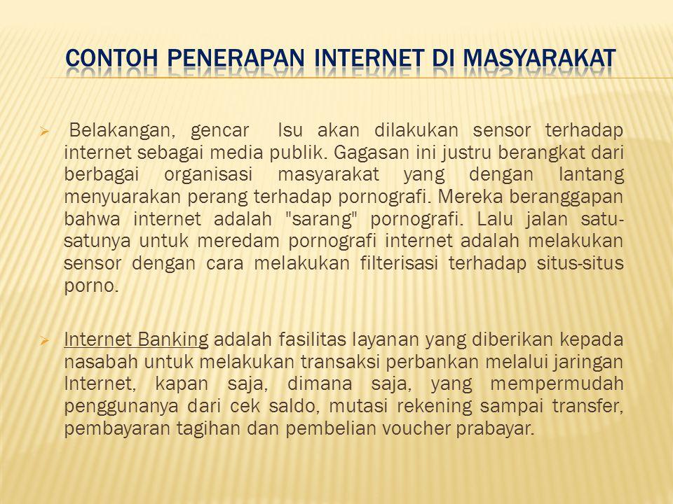 Contoh Penerapan Internet di masyarakat
