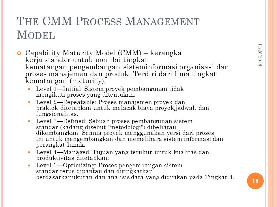 The CMM Process Management Model
