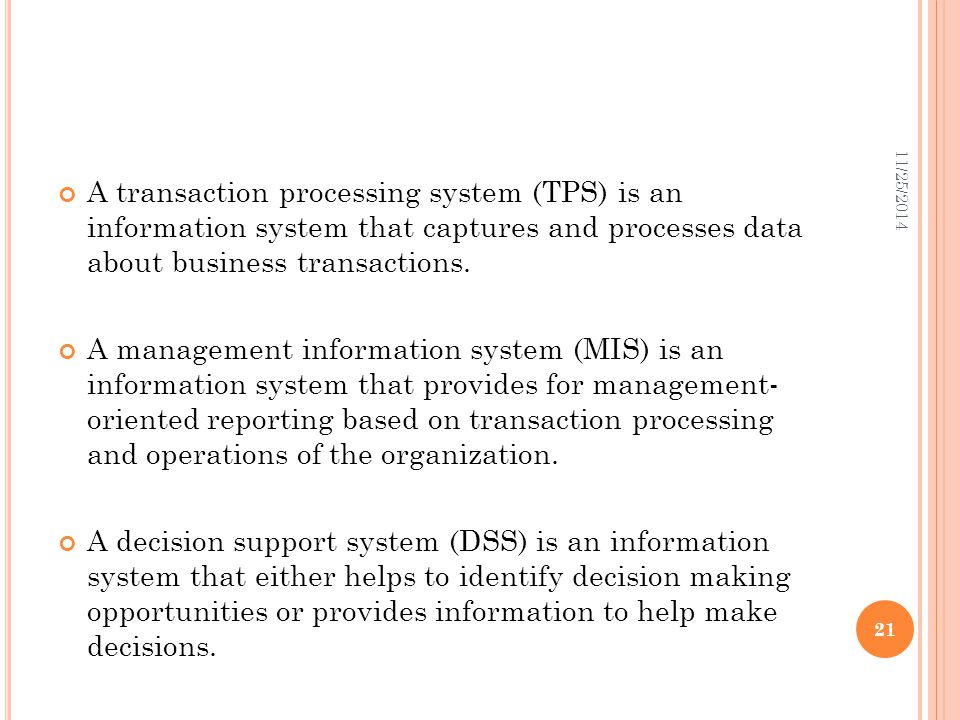 4/7/2017 A transaction processing system (TPS) is an information system that captures and processes data about business transactions.