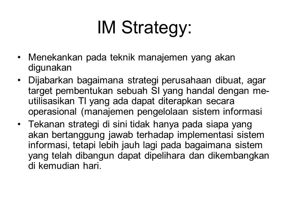 IM Strategy: Menekankan pada teknik manajemen yang akan digunakan