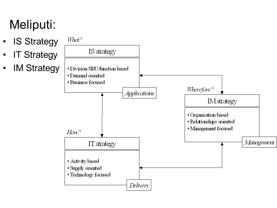 Meliputi: IS Strategy IT Strategy IM Strategy