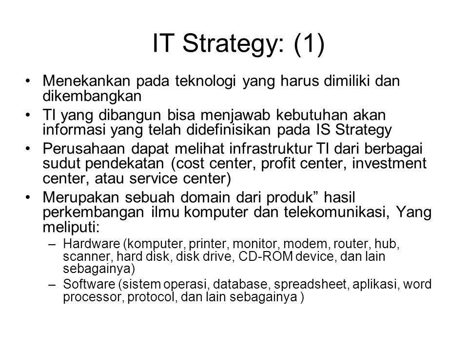 IT Strategy: (1) Menekankan pada teknologi yang harus dimiliki dan dikembangkan.