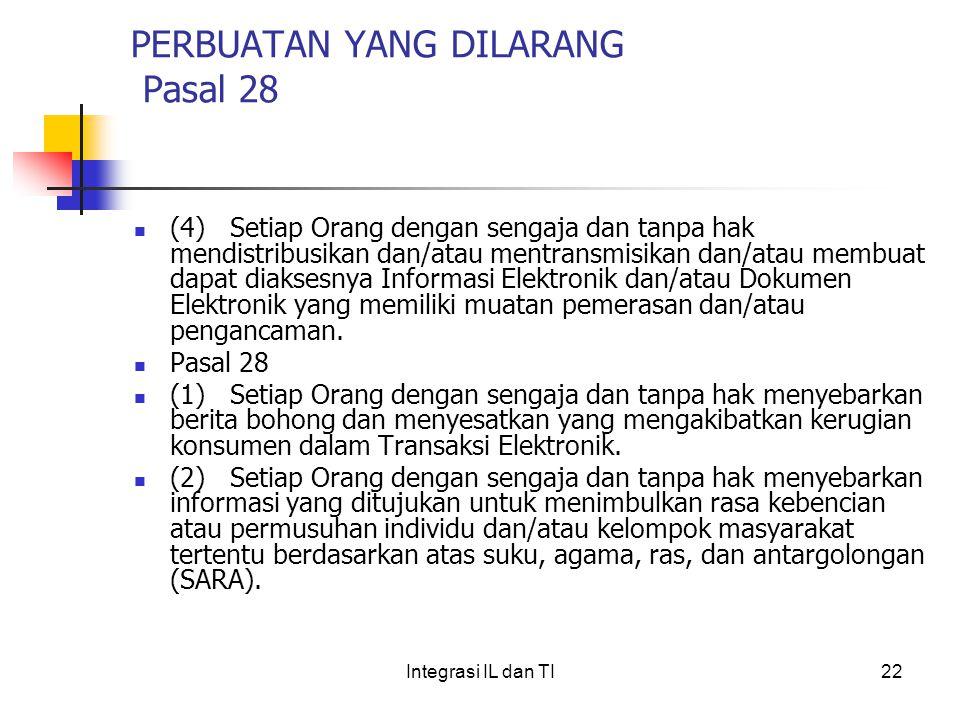 PERBUATAN YANG DILARANG Pasal 28