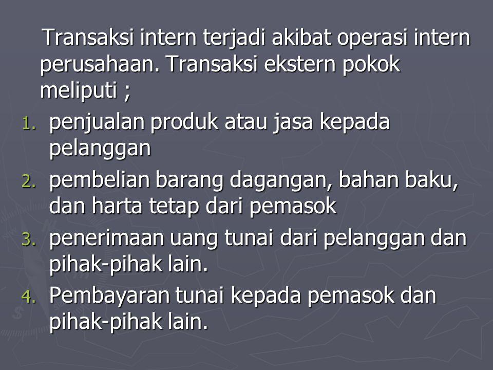 Transaksi intern terjadi akibat operasi intern perusahaan