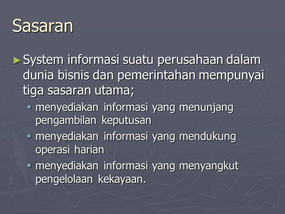 Sasaran System informasi suatu perusahaan dalam dunia bisnis dan pemerintahan mempunyai tiga sasaran utama;