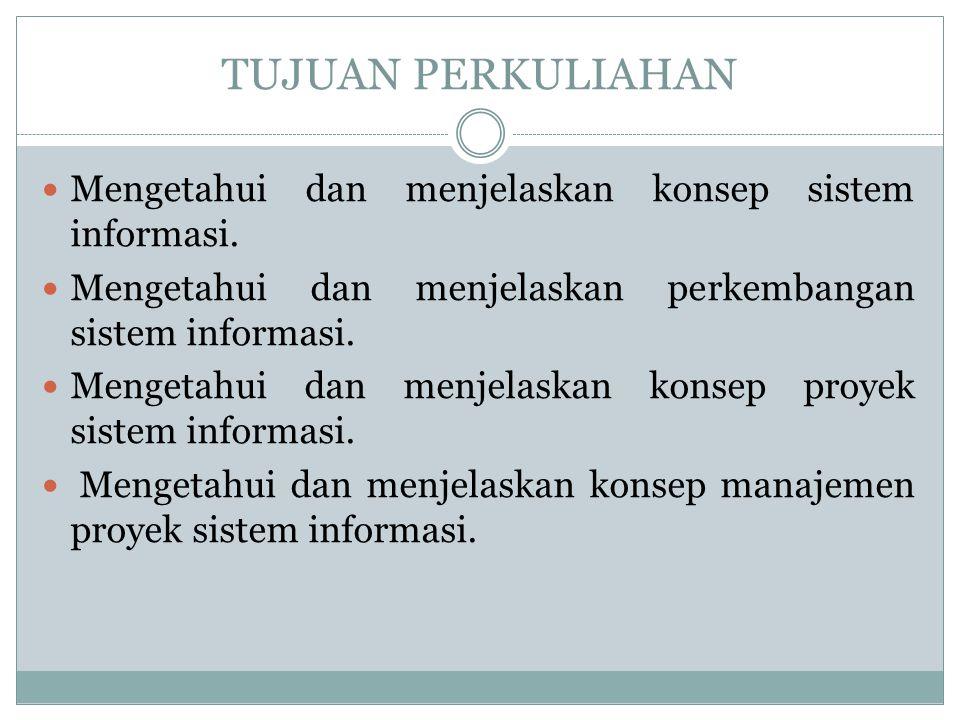 TUJUAN PERKULIAHAN Mengetahui dan menjelaskan konsep sistem informasi.