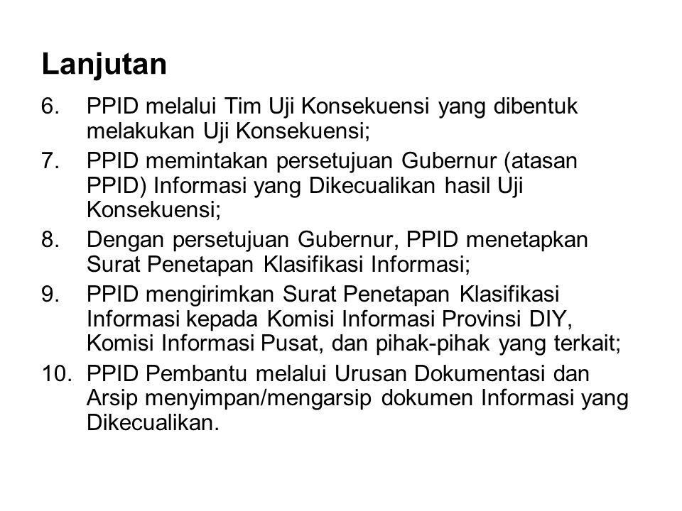 Lanjutan PPID melalui Tim Uji Konsekuensi yang dibentuk melakukan Uji Konsekuensi;