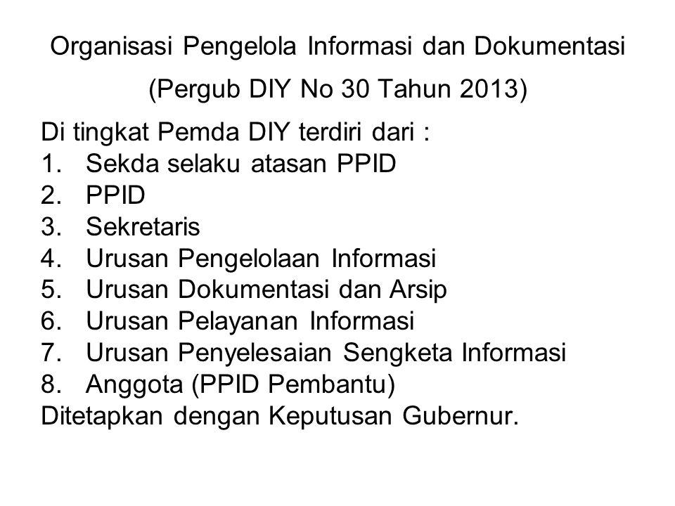 Organisasi Pengelola Informasi dan Dokumentasi (Pergub DIY No 30 Tahun 2013)