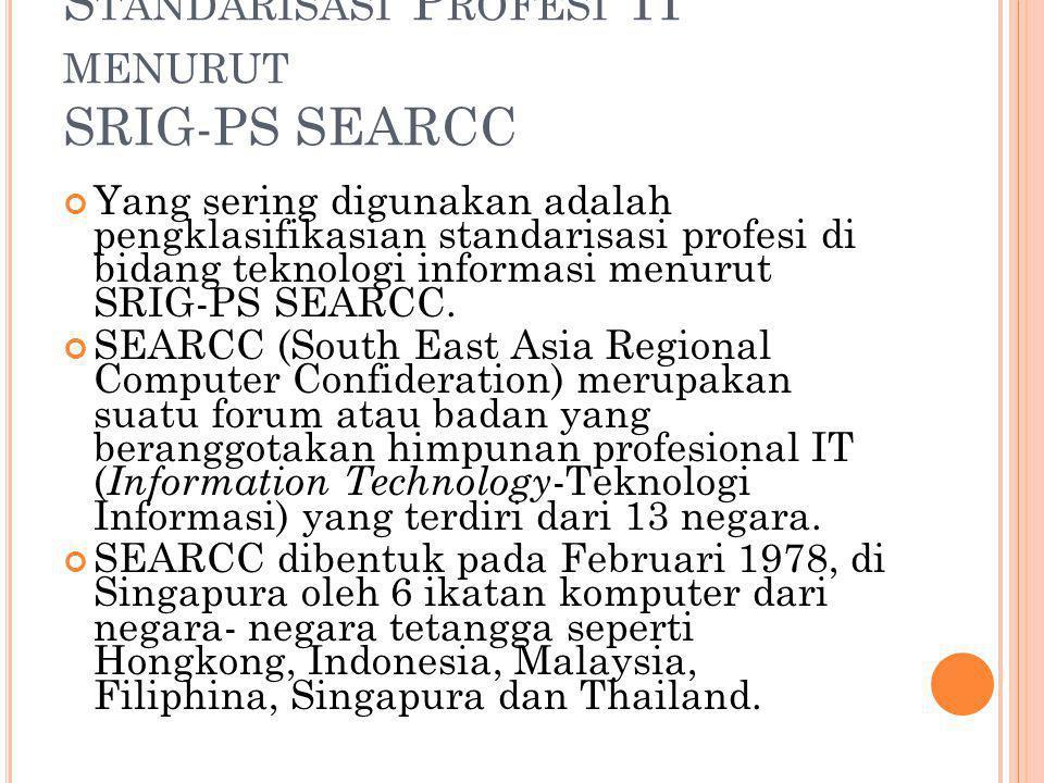 Standarisasi Profesi TI menurut SRIG-PS SEARCC