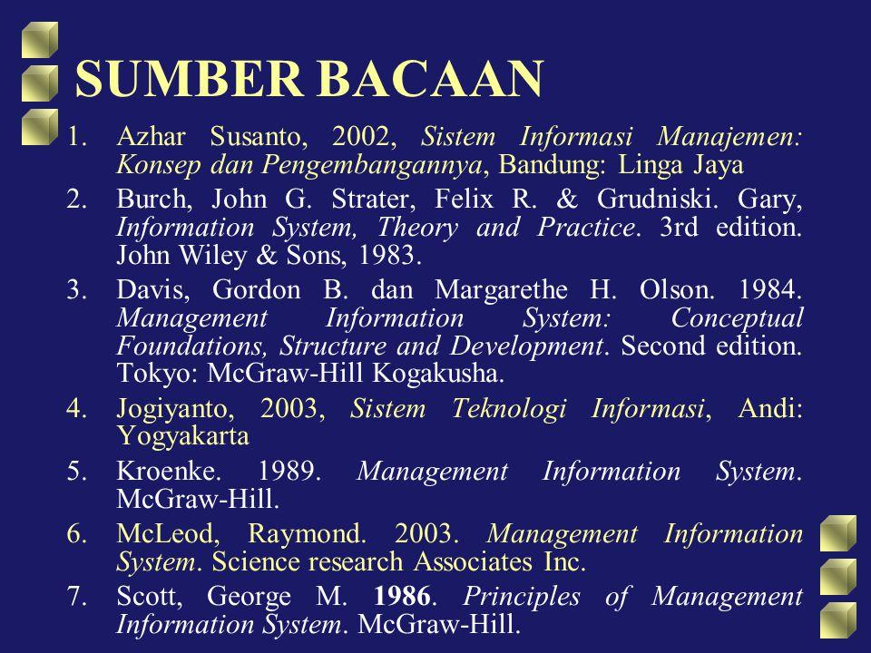 SUMBER BACAAN Azhar Susanto, 2002, Sistem Informasi Manajemen: Konsep dan Pengembangannya, Bandung: Linga Jaya.