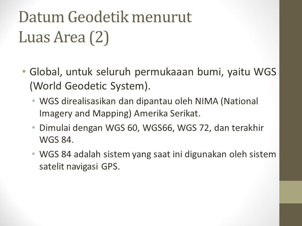 Datum Geodetik menurut Luas Area (2)