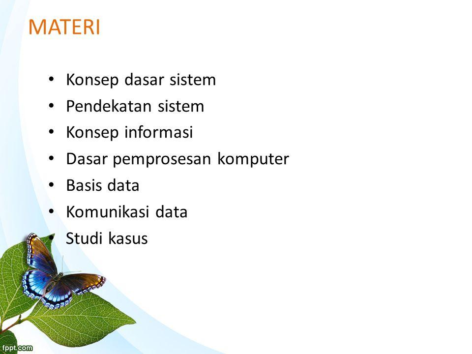 MATERI Konsep dasar sistem Pendekatan sistem Konsep informasi