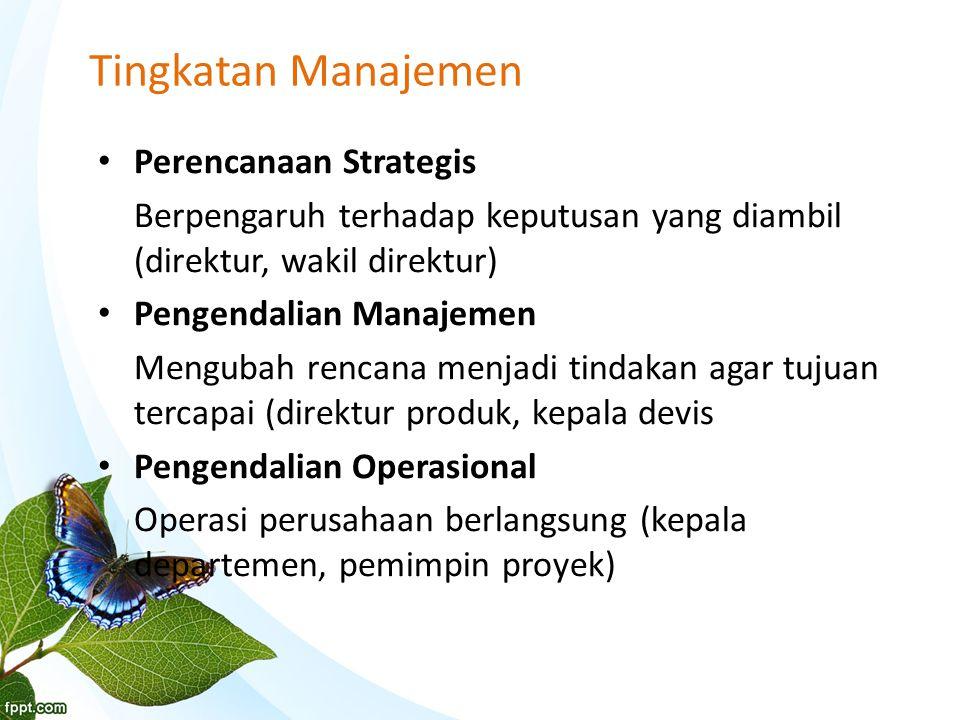 Tingkatan Manajemen Perencanaan Strategis