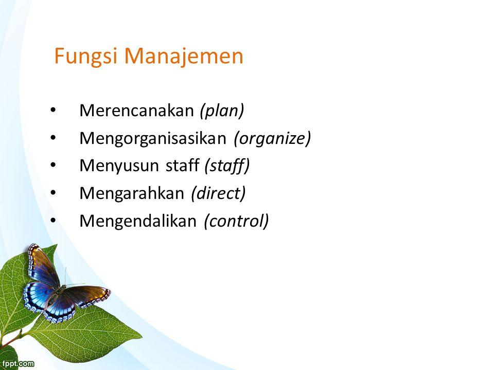 Fungsi Manajemen Merencanakan (plan) Mengorganisasikan (organize)