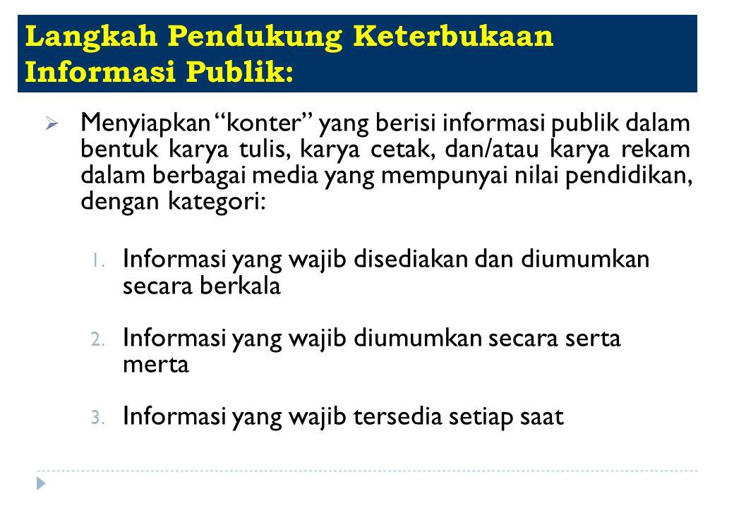 Langkah Pendukung Keterbukaan Informasi Publik: