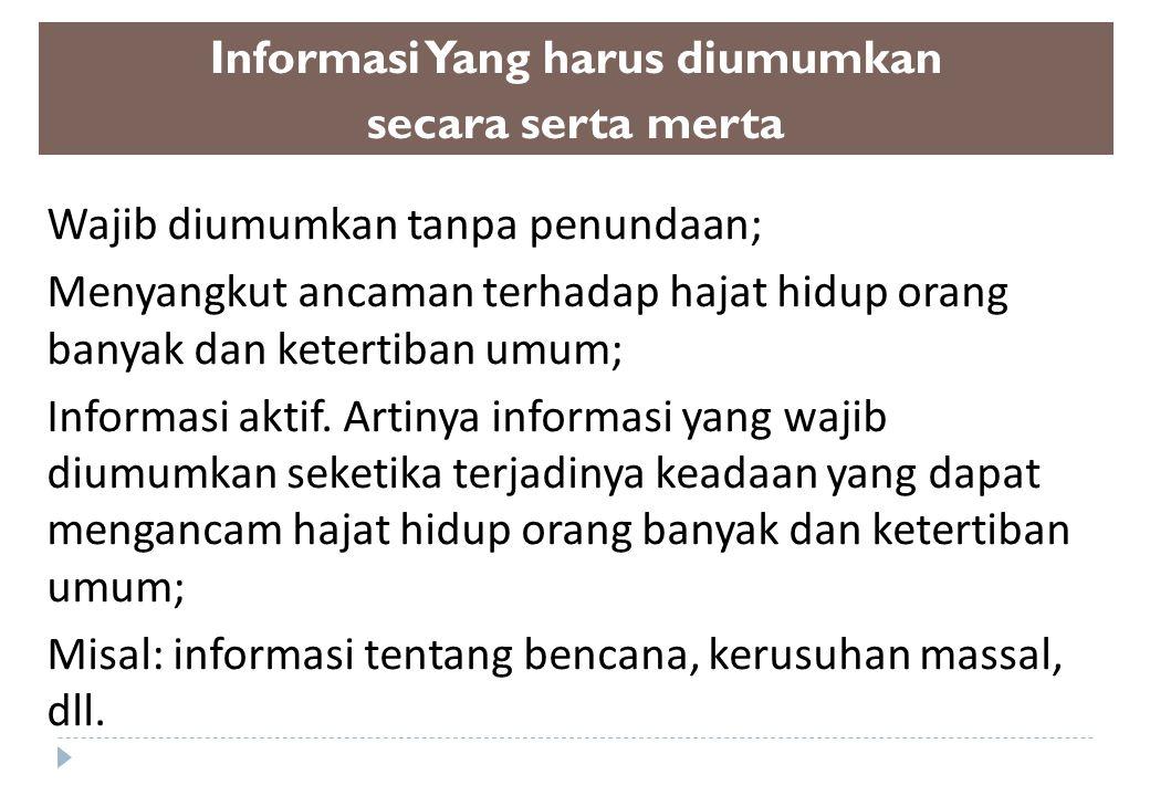 Informasi Yang harus diumumkan